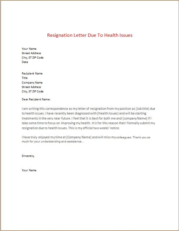 Resignation Letter Due To Health Issues Resignation