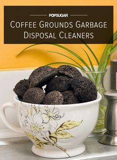 DIY Coffee Grounds Garbage Disposal Cleaners: made from used coffee grounds, baking soda, vinegar, and Epsom Salts