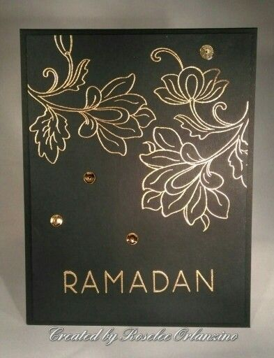 Ramadan card using Altenew Persian Motifs and Ramadan Greetings stamp sets, Ranger fine detail gold embossing powder, SU metallic sequins, Gina K heavy duty black onyx card stock