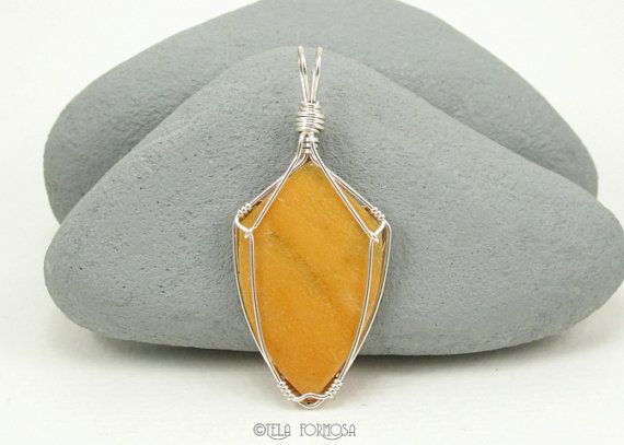 Natural Yellow Quartz Pendant Wire Wrapped by TelaFormosaJewelry, $95.00