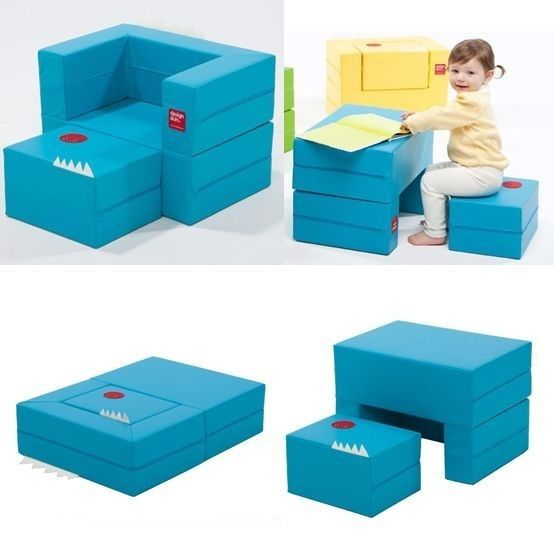 Mini Little Blue Couch Daughter Birthday Gift Furniture Kids Folding Block Sofa #DESIGNSKIN