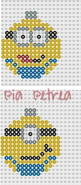 Christmas Minion bauble ornament perler pattern by Pia Petrea