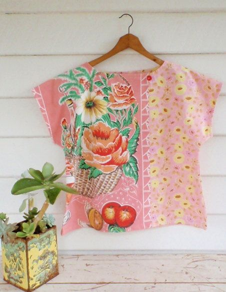 Upcycled Womens Shirt Top Blouse Vintage Linen Tea Towel Pink Red Rose Floral Patchwork Medium. $69.50, via Etsy.
