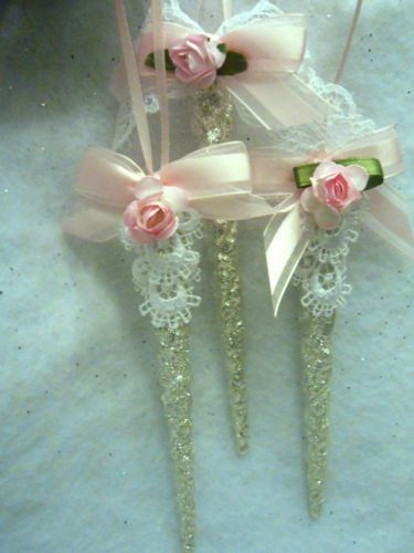 shabby chic christmas ornaments | sparkling shabby icicle christmas ornaments chic roses glitter