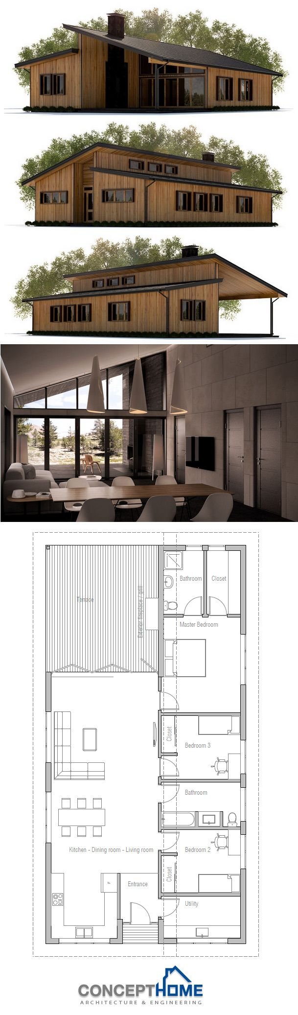 Narrow House Plan. I like that the bedrooms are right off the open living area. I feel like that helps the flow of the open space.