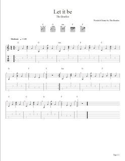 The beatles let it be arreglo f cil para guitarra for Partituras de guitarra clasica