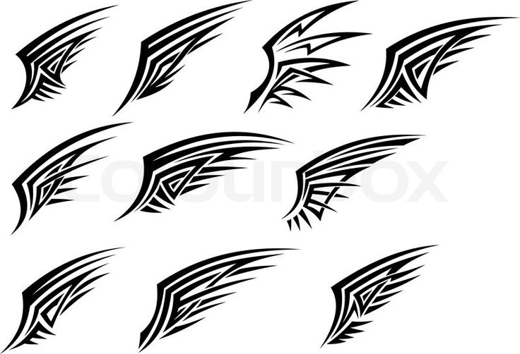Set of black tribal wing tattoos | Vector | Colourbox