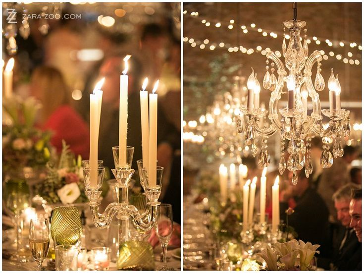 Low hanging #chandeliers and tall candles - very #elegant, old-world look for your #wedding #lighting.  At this wedding it was combined with the rustic elements of the venue #Rockhaven to form a modern old-and-new look.  See more of this wedding on the #ZaraZoo blog http://www.zara-zoo.com/blog/wedding-at-rockhaven/