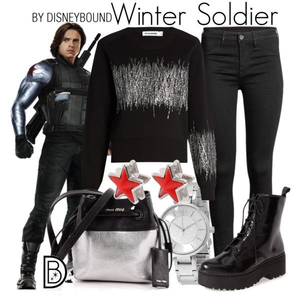 Winter Soldier by leslieakay on Polyvore featuring Jil Sander, Jeffrey Campbell, Miu Miu, Armani Exchange, Givenchy, disney, disneybound and disneycharacter