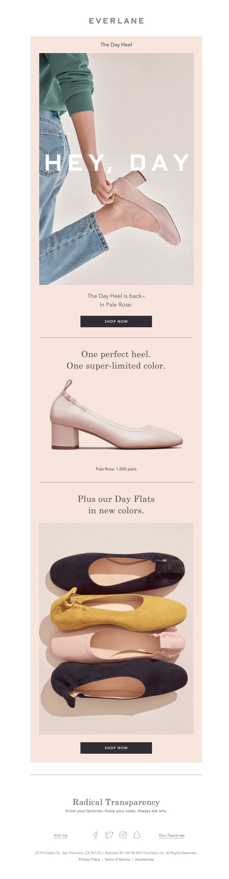 Everlane pairs pink shoes with a pink HTML background in their millennial pink email campaign.