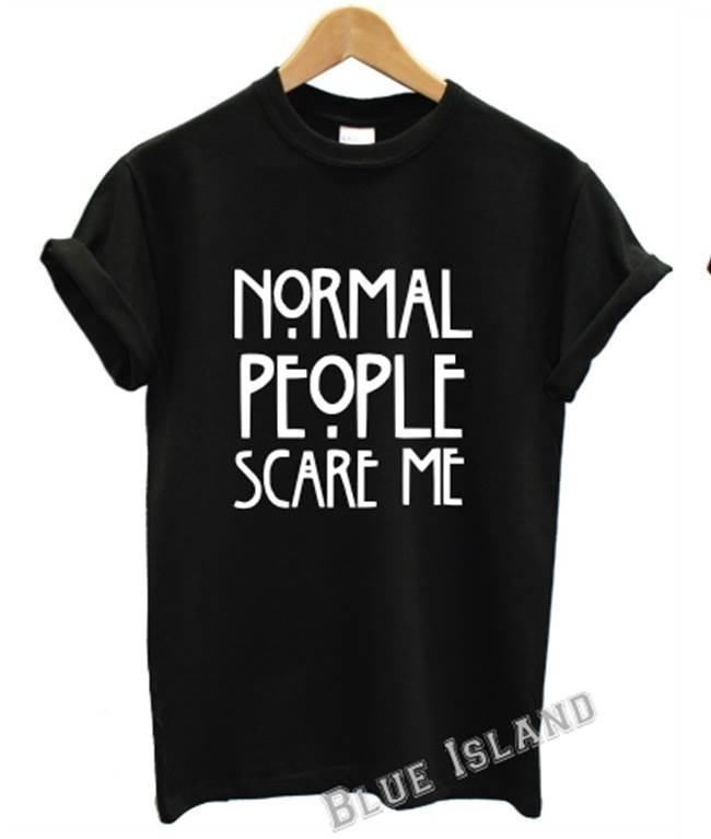 NORMAL PEOPLE SCARE ME T SHIRT AMERICAN HORROR STORY FASHION TUMBLR UNISEX MOVIE #Gildan