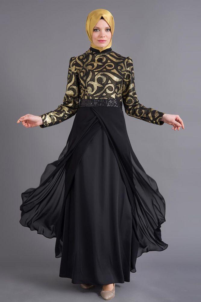 Puane - Eteği Tüllü Siyah Elbise
