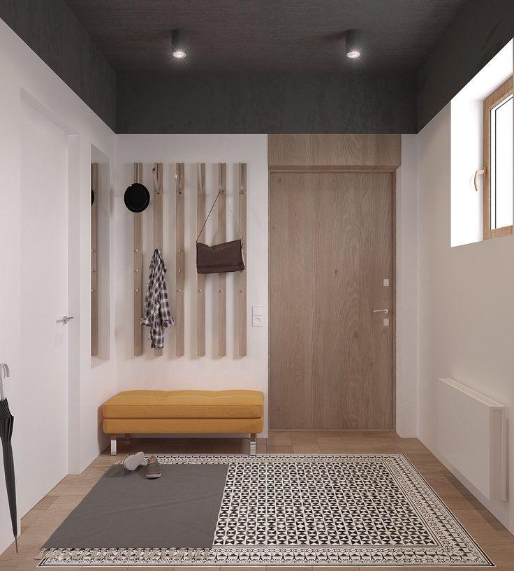 Ingresso casa con stupendo pavimento in mosaico bianco-nero e legno