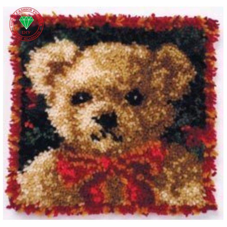 Bear Needlework Latch hook rug kits Cross-stitch carpet cushion Patchwork diy pillowcase embroidery thread Knitting Home Decor #Affiliate