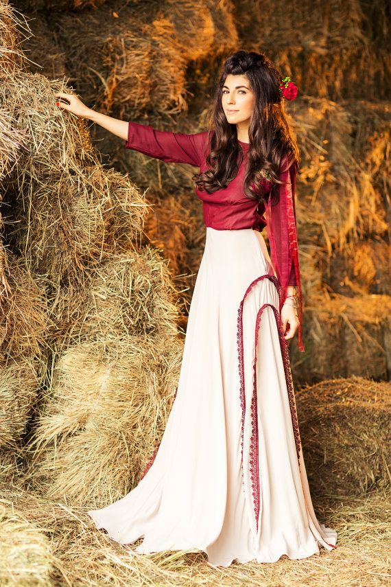Burgundy cotton wedding dress with 3/4 sleeve by CathyTelle