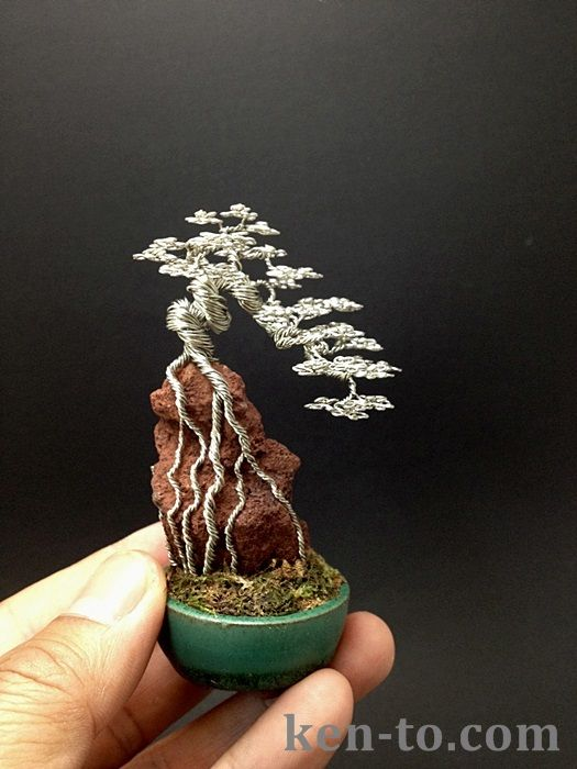 Root-over-rock wire bonsai tree by Ken To by KenToArt.deviantart.com on @deviantART