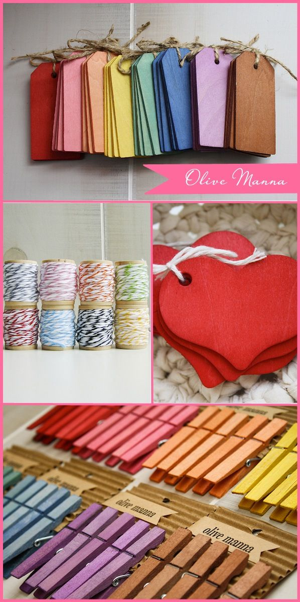 rainbow tags + twine + clothespins + brown kraft paper = a gift wrap station to make me drool!!