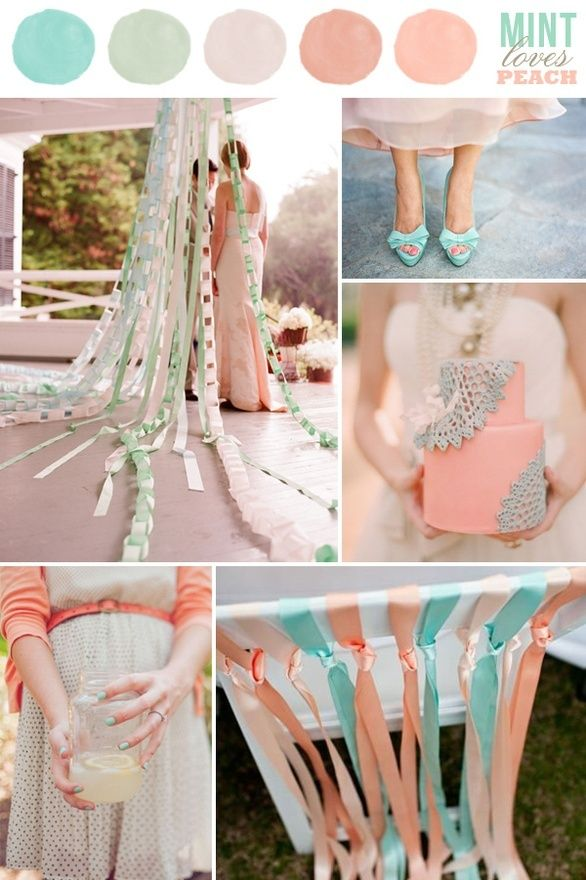 Mint and peach, wedding colors  Pretty wedding color palette!!