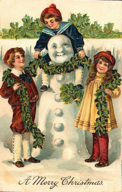 These little Victorian children are enjoying the Christmas season making a snowman and decorating him with holly. There is something so wonderful about the simplicity of children having fun that i...