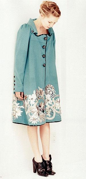 """Kirsten Dunst in """"Lula"""": Shoes, Cute Coats, Kirsten Dunst, Beauty Coats, Green Coats, Aline Clothing, Closet, Blue Coats"""