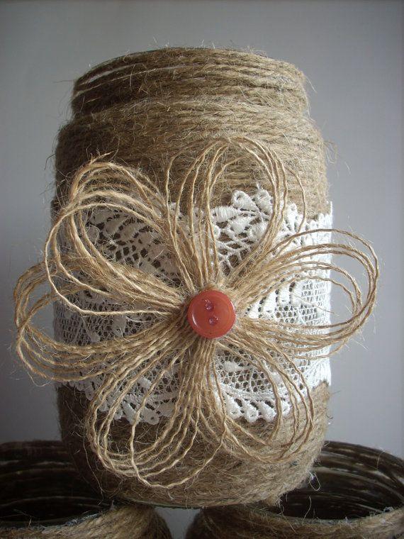 Rustic Wedding Burlap Jar Lace and burlap by foryourrusticwedding