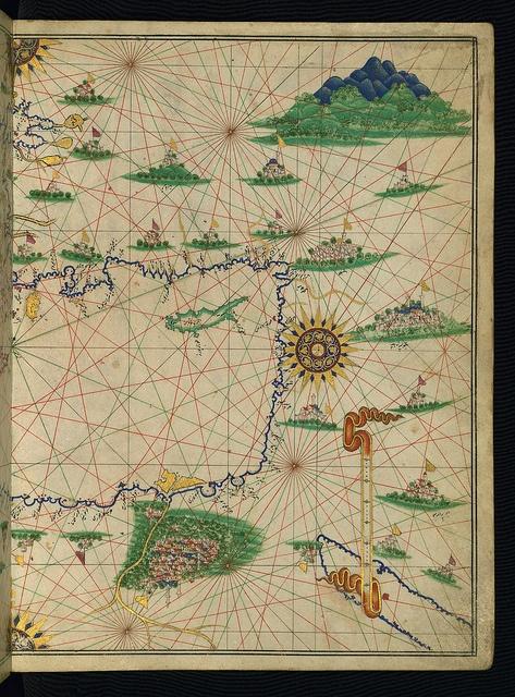 Illuminated Manuscript, Maritime atlas, Walters Art Museum Ms. W.660, fol.7b by Walters Art Museum Illuminated Manuscripts, via Flickr