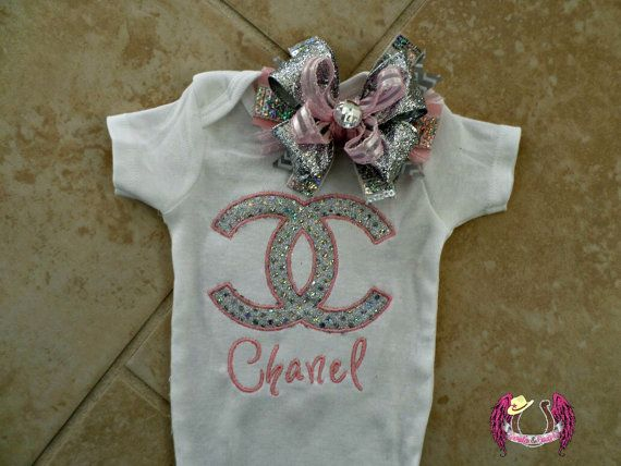 Couture Chanel Baby Boutique Onesie And Bow By