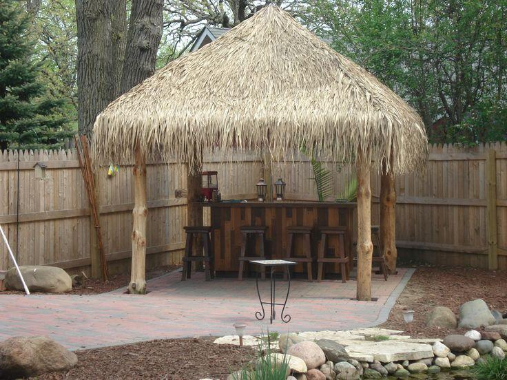 Backyard Tiki Bar Pictures : Tiki hut finished  Backyard Tiki Bar  Pinterest