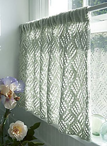Knitted cafe curtain Knitting Ideas Pinterest