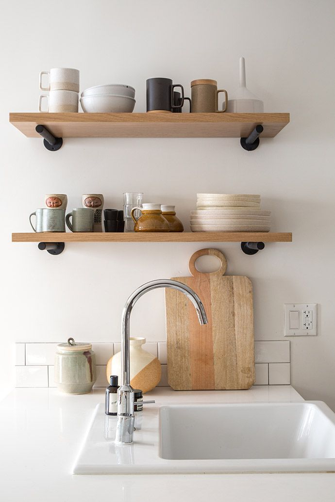 Pottery on open shelves | Minimalist Home Styling