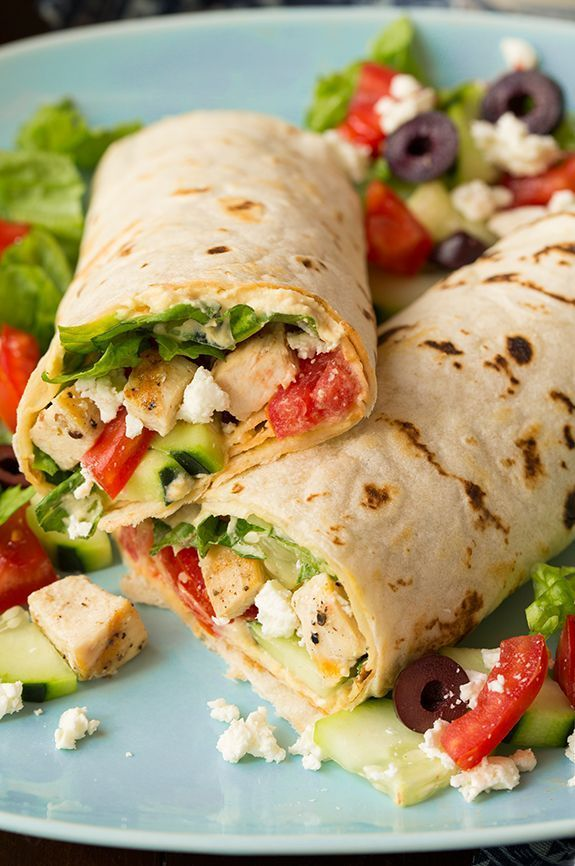 Greek Grilled Chicken & Hummus Wrap http://FoodBlogs.com                                                                                                                                                     More