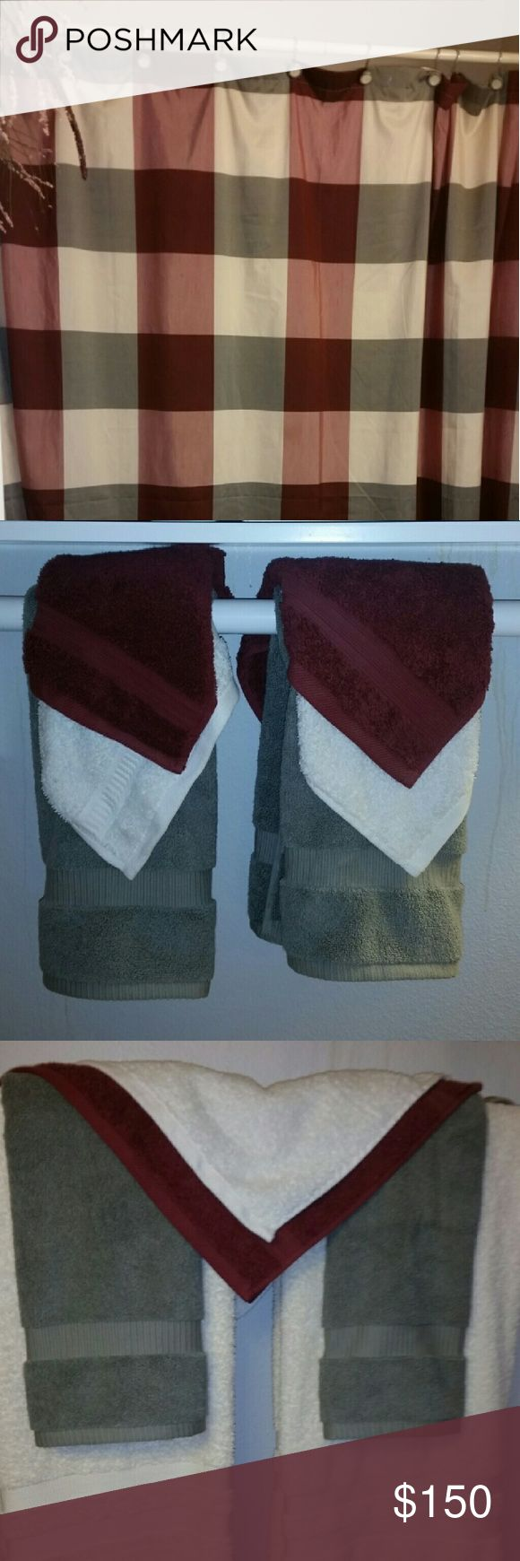 Complete Bathroom Set Sage green,  burgundy & cream shower curtain;  2 full size cream bath towels;  6 wash clothes; 4 hand towels & cream bath mat Other