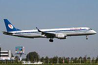 Belavia Embraer ERJ-195LR (ERJ-190-200 LR) EW-400PO aircraft, landing at the Netherlands Amsterdam Schiphol International Airport. 09/05/2016.