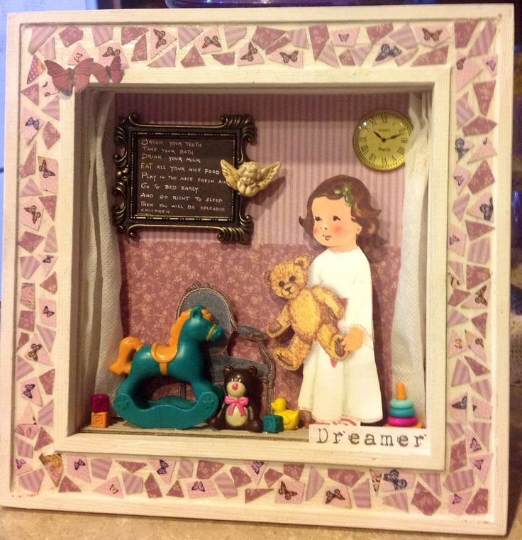 Shadow box with mosaic style frame .... Out of paper