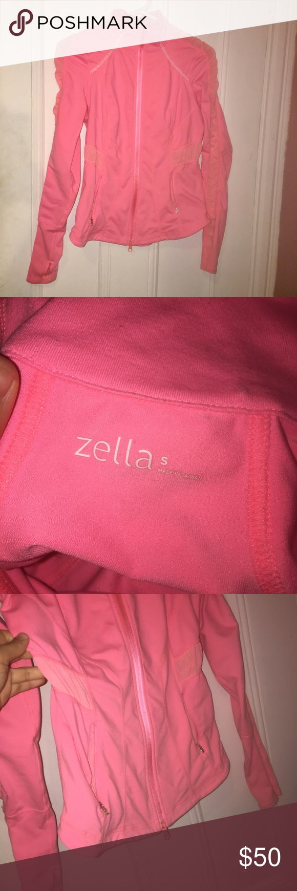 Zella hot pink zip up workout top 👍 Zella excellent condition hot pink zip up jacket with mesh and ruching details. Offers welcome!!! Zella Tops Tees - Long Sleeve