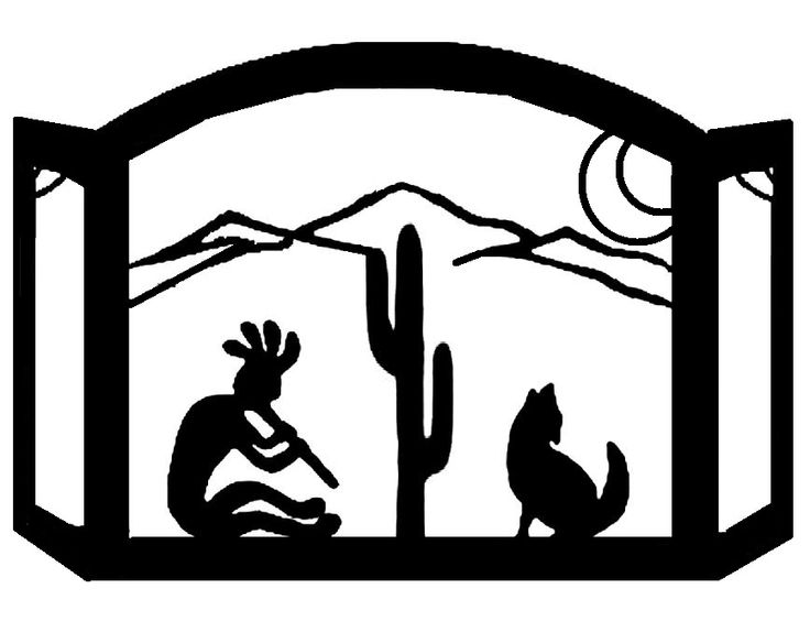 Kokopelli & Coyote Scenic Southwest Fireplace Screen exclusive design made of heavy recycled steel american made southwest decor fire screen southwestern