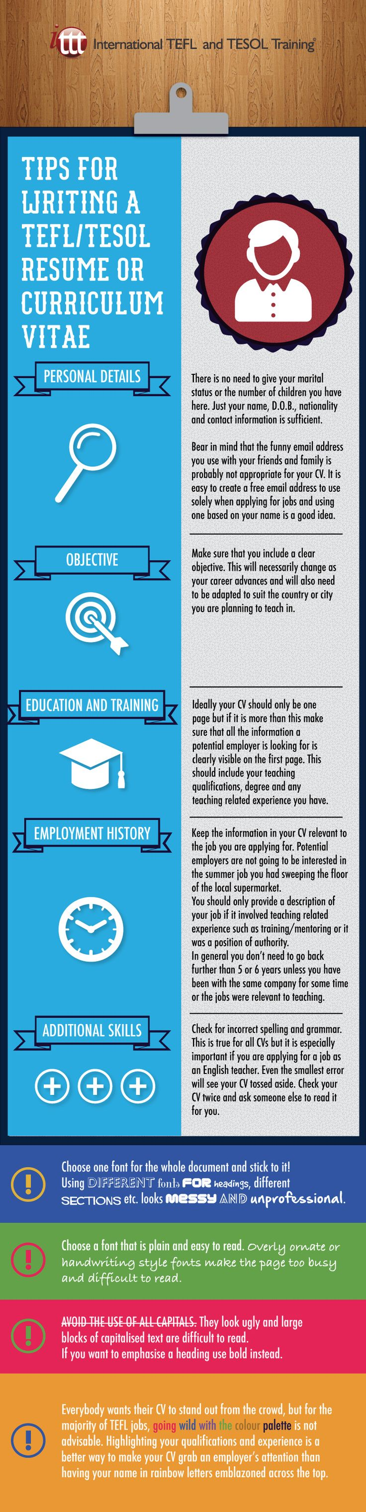 Tips for writing a TEFL/TESOL Resume/ Curriculum Vitae
