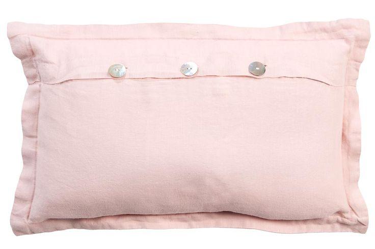 Sierkussen Emma: landelijk romantisch kussen in roze linnen