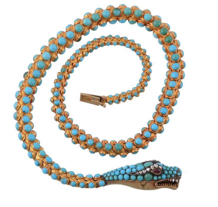 An early Victorian turquoise, garnet and diamond serpent necklace, circa 1840. To be auctioned in Fine Jewellery | 26 March 2015 [Lot 567]