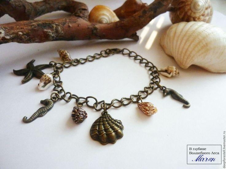 Купить Морские сказки браслет с подвесками морская звезда ракушки коричневый - море солнце