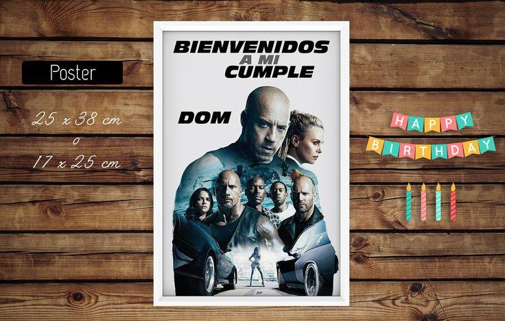 #poster #cartel bienvenida #cumple #rapidoyfurioso #laroca #toretto #cars #kit #cumple #imprimible #fiesta #cumple #ideas #casero