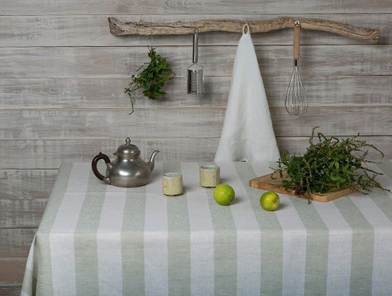 Linen tablecloth-Striped Linen Tablecloth in by LinenHomeDecor