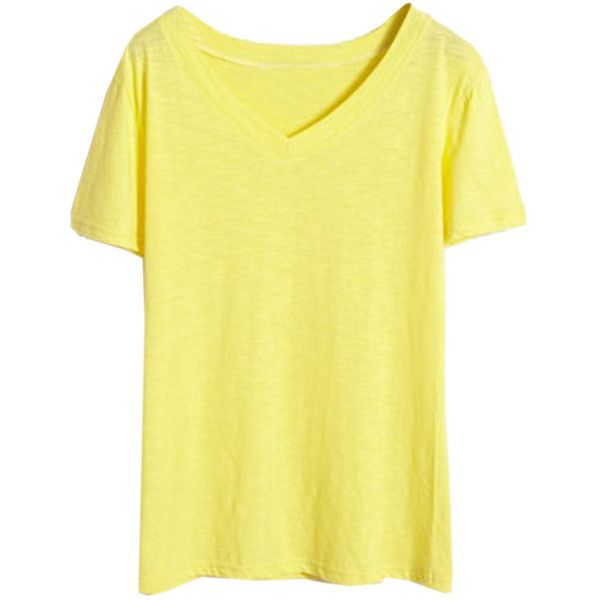 Choies Yellow V Neck Short Sleeve Basic T-shirt ($18) ❤ liked on Polyvore featuring tops, t-shirts, yellow, v-neck tops, yellow t shirt, short sleeve t shirts, vneck tops i yellow tee