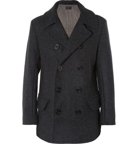 J.CREW QUILTED WOOL PEACOAT Grey wool peacoat Four front pockets, single vent, anchor-engraved buttons, quilted body and sleeves Double-breasted button fastening 100% wool; lining: 100% cotton; sleeve lining: 100% polyester; wadding: 65% olefin, 35% polyester Dry clean http://www.mrporter.com/product/397977