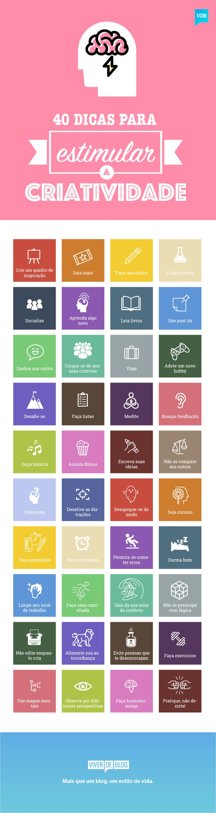 Conheça 40 dicas práticas e rápidas para estimular sua criatividade e derrotar definitivamente os vilões do pensamento inovador.