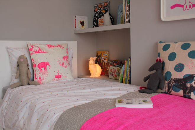 real life rooms, grey and white neon and bright bedroom, sleep corner, children's cushions, neon paris cushion, children's lighting, childre...
