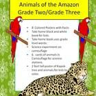5 days worth of lessons 8 colored posters on amazon animals, plus 4 worksheets. Student take home book of Amazon animals. Black and white clipart for kids to color. Science experiment on camouflage. 6 animal cards for science stations. Bous: 2 foot tall poster of Kapok tree and animals for kids to color.