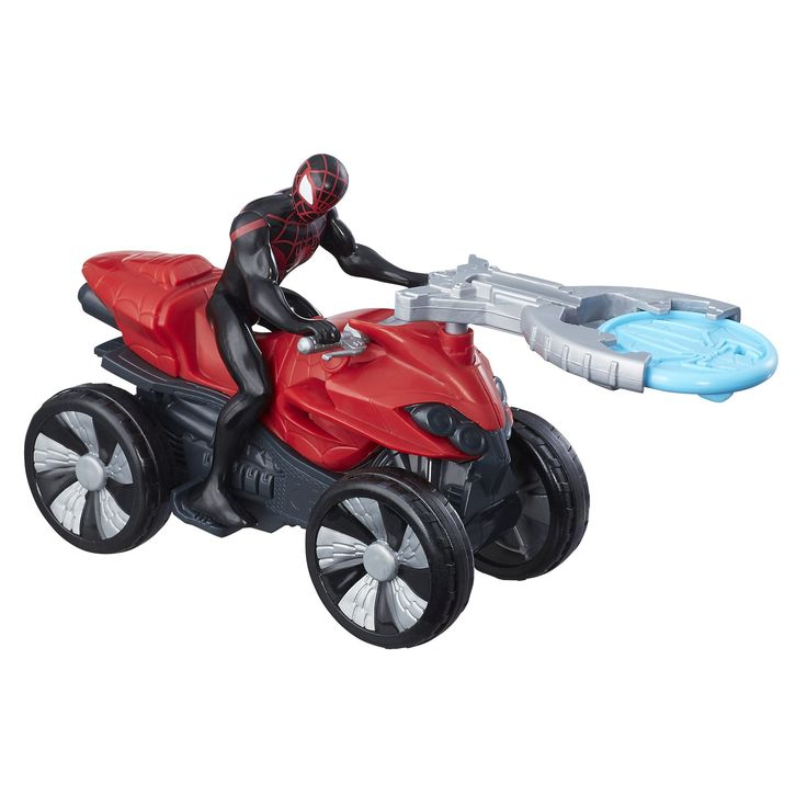Marvel Spider-Man Blast N' Go Racer Kid Arachnid with ATV. Includes Kid Arachnid figure with ATV vehicle. Launch projectile or vehicle. Launcher and projectile attach to vehicle when not in use. Action figure size: 3.75 inches. Includes: Figure, vehicle, launcher, and projectile accessory.
