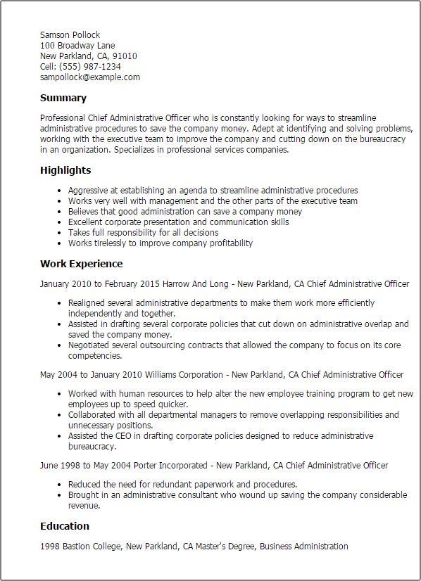 Resume Templates Chief Administrative Officer Desktop