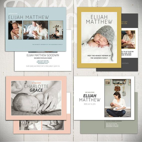Birth Announcement Templates: Small Prints Collection Photography Templates by Laurie Cosgrove Design